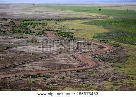 Road in the African savannah. Amboseli national park in Kenia