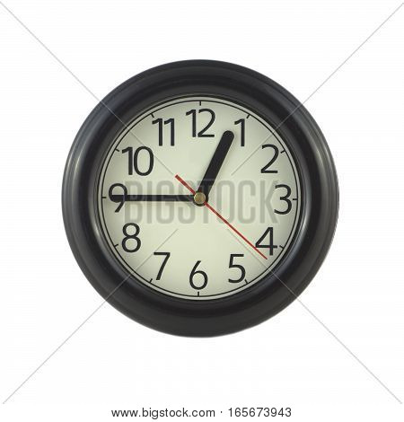 Big round wall clock isolated on white close up