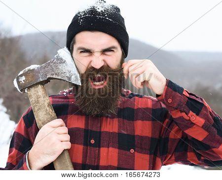 Angry Man Or Brutal Lumberjack