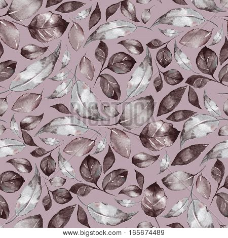 Seamless pattern with beautiful watercolor leaves 5