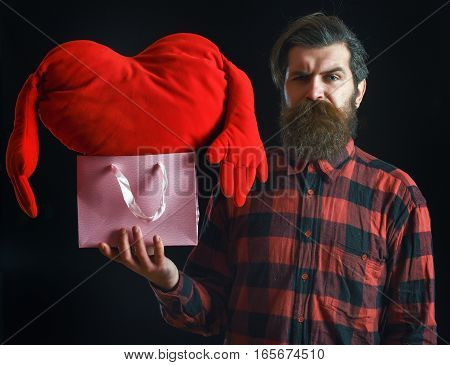 Bearded Man With Heart In Package