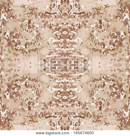 Seamless nature pattern. Stone, snake skin, band view mosaic motley texture. Ornamental collage. Brown, beige soft colored background. Vector