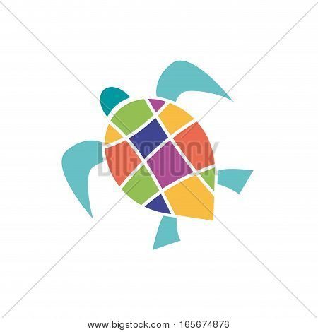 Vector sign abstract colorful tortoise, isolated illustration
