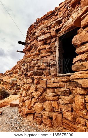 Closeup of Rock Cabin at Valley of Fire State Park southern Nevada USA