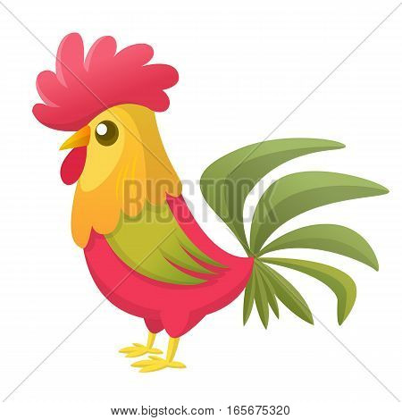 Cartoon rooster with bright feathers on the tail and a red crest. Vector illustration