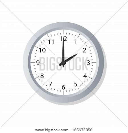 Clock symbol icon on white. Vector illustration