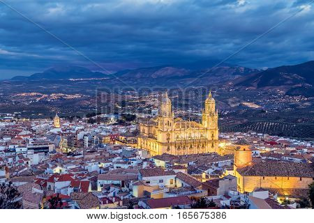 Cityscape of Jaen in the evening Andalusia Spain