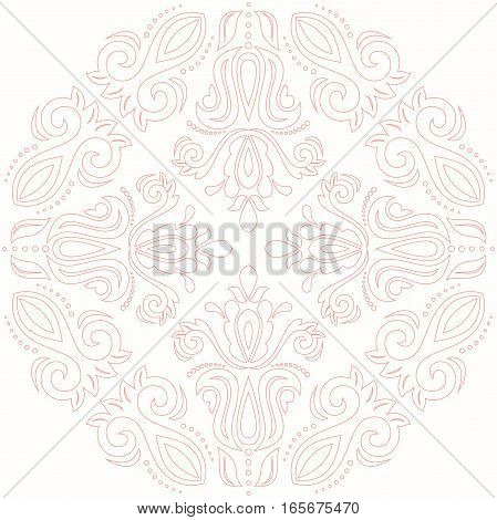 Elegant vector pink ornament in classic style. Abstract traditional pattern with oriental elements, Classic vintage pattern