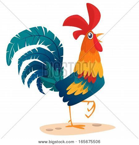 Cartoon rooster stands on one leg vector illustration symbol of the year 2017 on the Chinese calendar