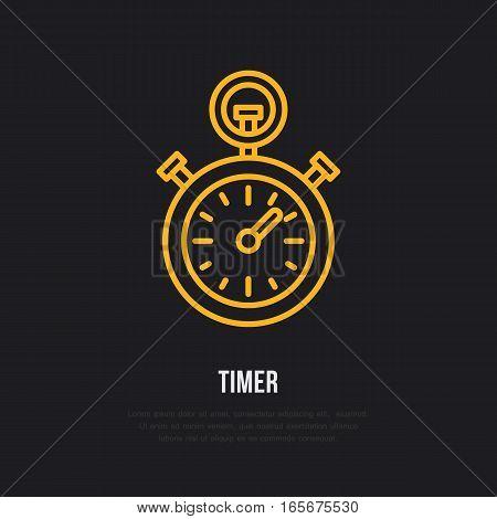 Timer vector line icon. Sport championship stopwatch sign. Chronometer illustration.