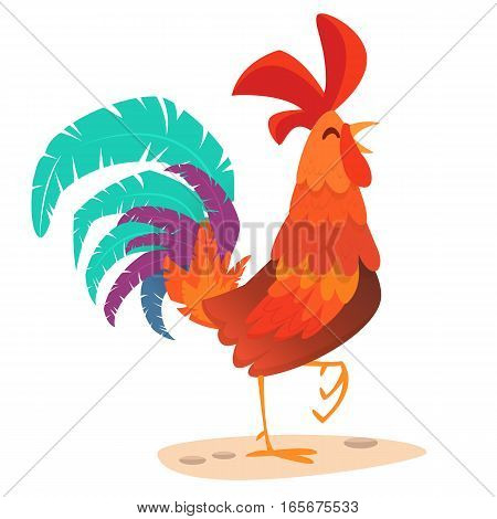 Rooster cartoon. Illustration greeting card design for Happy new year 2017