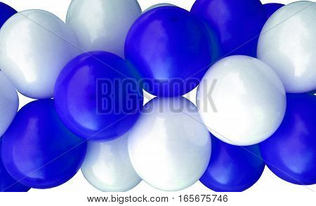 Garlands fragment consisting of inflatable blue and white balls