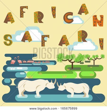 African safari concept with animals, flamingo, hippo. Flat isolated eps10 vector illustration. Eco tourism