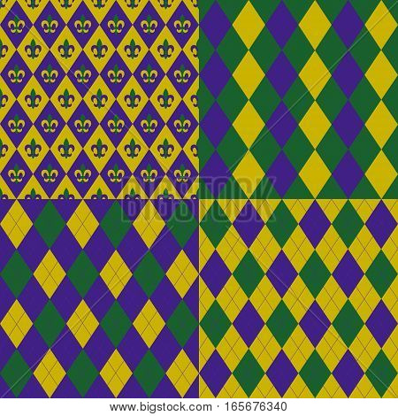 Set of Mardy gras backgrounds in traditional colours of purple, green, and gold. Seamless pattern