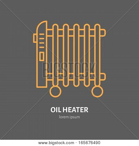 Oil heater vector line icon, electric radiator. House heating equipment. Interior object flat sign, design element.