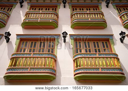 colourful balconies on colonial building in Colombia