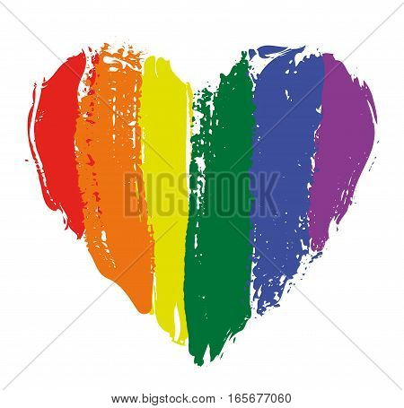 LGBT heart in rainbow colors isolated on white