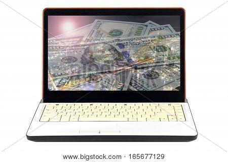 Laptop full of dollars finance on white background