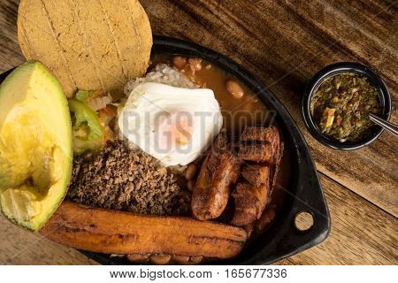 typical colombian food from the Medellin area called Paisa Bandeja