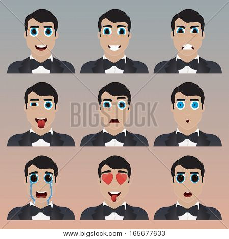 Set Of Cute Bridegroom Emoticons.