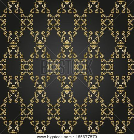 Seamless vector ornament. Modern background. Geometric pattern with repeating golden elements