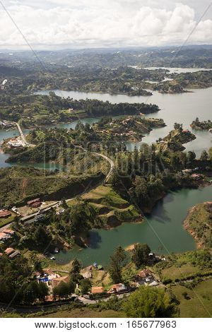 the lake of Guatape seen from above