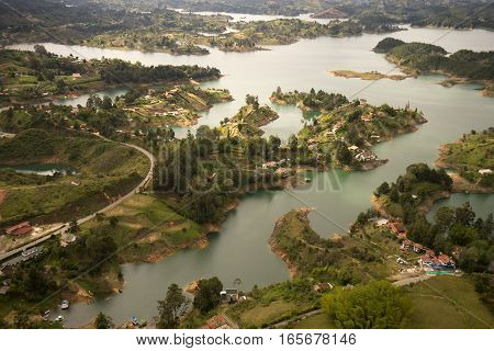 aerial view of the lake of Guatape created artificially for energy production