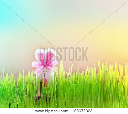 Colored easter egg bunny on grass over yellow background