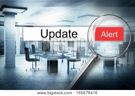 searching update in address bar with magnifier alert 3D Illustration