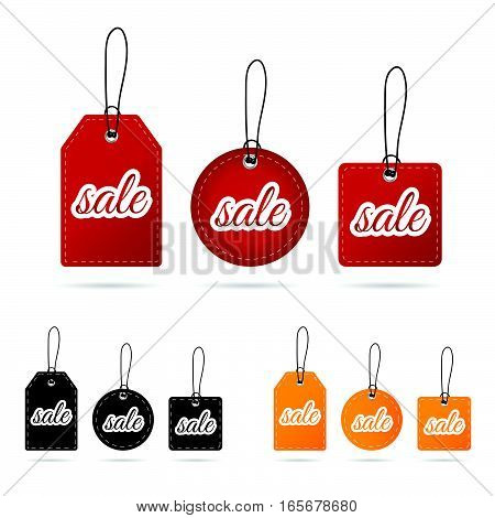 Tag Sale In Various Poses Color Design Illustration