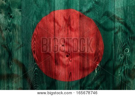 National Flag Of Bangladesh, Wooden Background