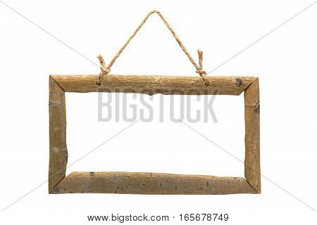 blank wooden frame isolated on a white background with rope for hanging