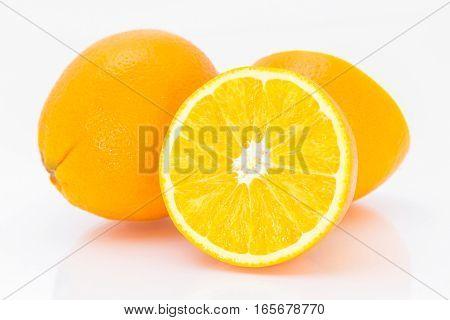 Juicy Orange On White Background.