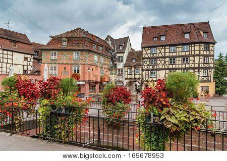 Square in Colmar city center with Schwendi Fountain France
