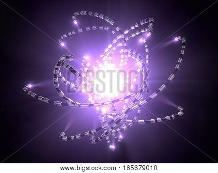 hi-tech tentacle robots around mystical violet light source. conceptual illustration in 3d.