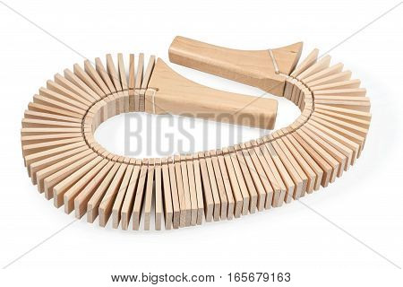 Wooden ethnic instruments - musical ratchet isolated on a white background