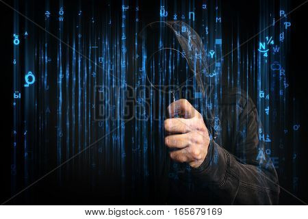 Computer hacker with hoodie in cyberspace surrounded by code online internet security identity protection and privacy