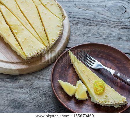 Portion of lemon tart on the plate