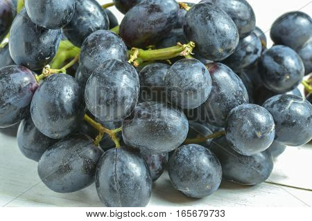 A bunch of dark grapes on a white background.