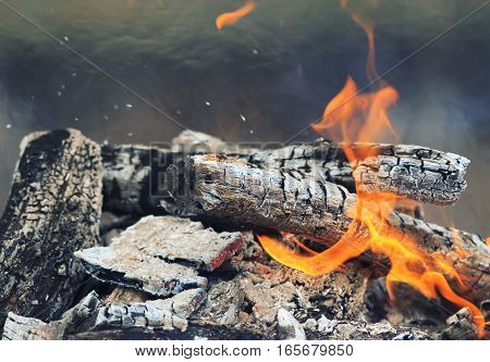 burning black coals with a white ash and red flames