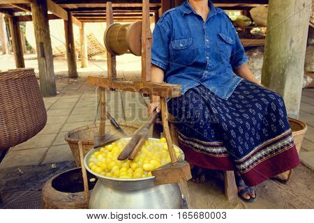 Boiled Silkworm Traditional Folkways In Thailand.