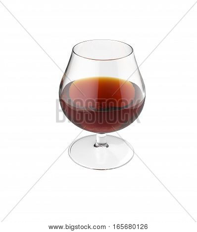 Glass of cognac isolated on white background. 3d