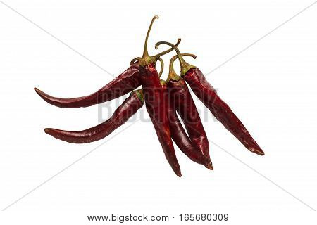Dried red hot chili pepper on the white background