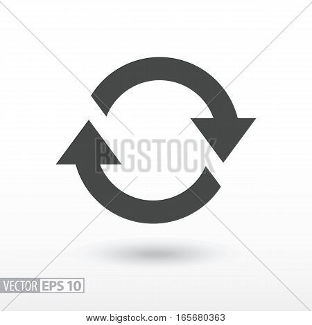 Symbol of movement flat icon. Sign rotation, cyclic recurrence. Vector logo for web design, mobile and infographics. Vector illustration eps10. Isolated on white background.