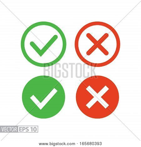 Confirm and deny flat icon. Sign confirm and deny. Vector logo illustration eps10. Isolated on white background.
