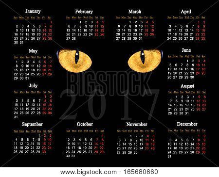 beautiful black calendar for 2017 with cat eyes