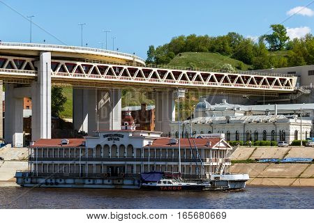 NIZHNY NOVGOROD, RUSSIA - MAY 09, 2016: View of the Romodanovsky Railway Station and berth at the Kazan Square in Nizhny Novgorod
