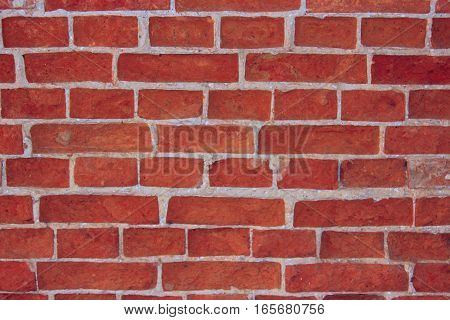 wall made from red old durable bricks