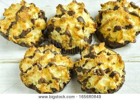 Sweet Coconut Macaroons decorate with chocolate coat