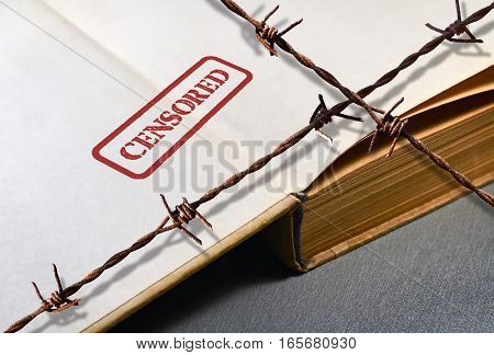 Closeup of an old secret book and word Censored